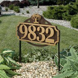 La Casa Palm Tree Address Yard Sign Gold/Bronze Yard