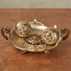 Golden Rose Centerpiece Bowl and Orbs Set Set of Three