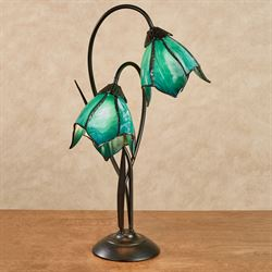 Remi Double Blossom Table Lamp Turquoise