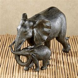 Matriarch and Calf Elephant Sculpture Bronze