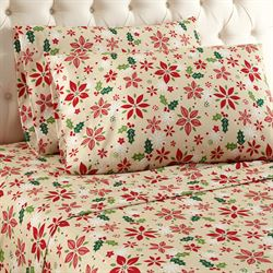 Poinsettia Sheet Set Straw