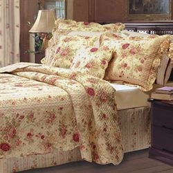 Antique Rose Quilt Set Flax