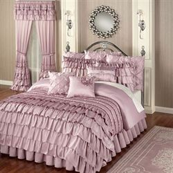 Enchante Ruffled Comforter Set Dusty Mauve