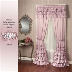 Enchante Ruffled Curtain Pair Dusty Mauve