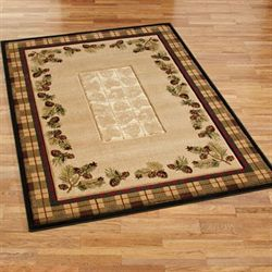 Winter Pines Rectangle Rug Dark Beige
