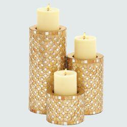 Chiara Mosaic Candleholders Gold Set of Three