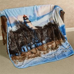 Lighthouse Throw Blanket Blue 80 x 60