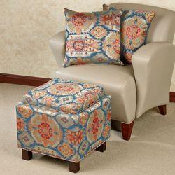 Pecos Storage Ottoman and Pillows Multi Earth Set of Three