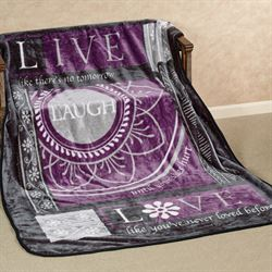 Laugh Throw Blanket Purple 60 x 80