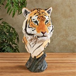 Tiger Head Bust Table Sculpture Orange