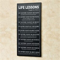 Life Lessons by Mom Wall Plaque Black