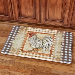 Plaid Rooster Cushioned Mat Multi Warm 36 x 23