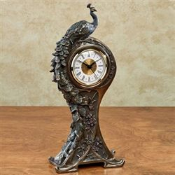Edeline Peacock Clock Bronze