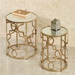 Gelatte Nesting Table Set Champagne Gold Set of Two