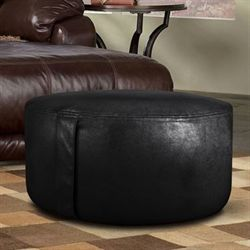 Faux Leather Inflatable Pouf Black