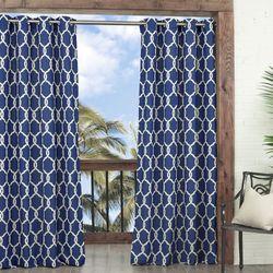 Totten Key Trellis Grommet Curtain Panel Dark Blue