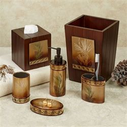Pine Cone Silhouettes Lotion Soap Dispenser Brown