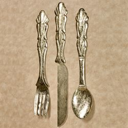 Bon Appetit Silverware Wall Art Gold Set of Three