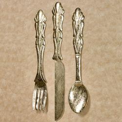 Bon Appetit Silverware Wall Art Gold Set of Three