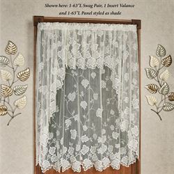Dancing Leaves Lace Long Swag Valance Pair Ivory 80 x 63