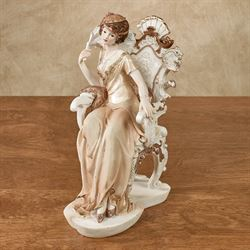 Elegant Sitting Lady Figurine Cream