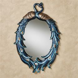 Priscilla Peacocks Oval Wall Mirror Blue