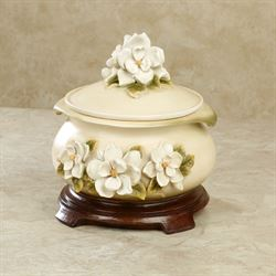 Magnolia Charm Decorative Covered Box Ivory
