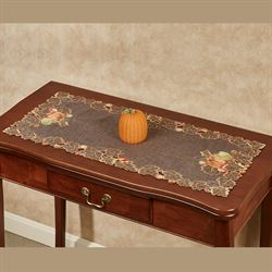 Leaves and Pumpkins Table Runner Brown 16 x 36