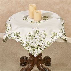 Field of Daisies Table Topper Ivory 36 Square