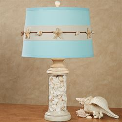 Coralia Coastal Table Lamp Aqua Each with LED Bulb