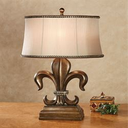 Fayette Fleur de Lis Table Lamp Antique Bronze Each with LED Bulb