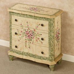 Carissa Floral Storage Cabinet Ivory