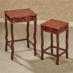Tropical Fortune Bamboo Leaf Nesting Tables Burgundy Set of Two