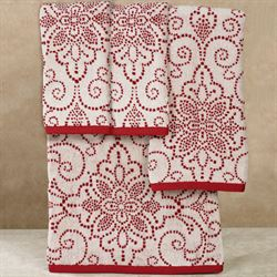 French Perle Groove Christmas Bath Towel Set Red Bath Hand Two Fingertip