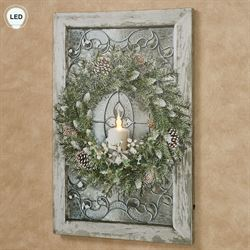 Winter Wreath LED Canvas Wall Art Multi Cool