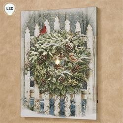 Winter Garden Gate LED Canvas Wall Art Multi Warm