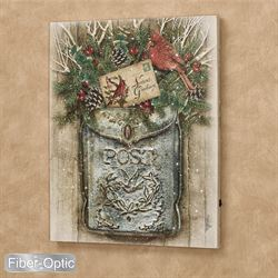 Vintage Holiday Mailbox Lighted Canvas Wall Art Multi Warm