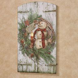 Snowman Wreath Lighted Canvas Wall Art Multi Warm