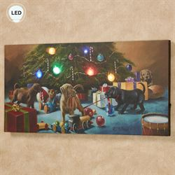 Christmas Mischief Lighted Canvas Wall Art Multi Warm