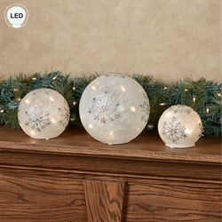Frosted Snowflake LED Globes White and Silver Set of Three