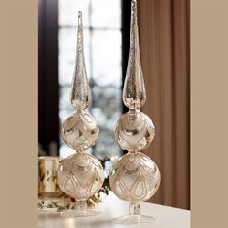 Mercury Glass Ornamental Finials Silver Set of Two
