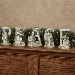 Peace Word Nativity Figurines Gold Set of Five