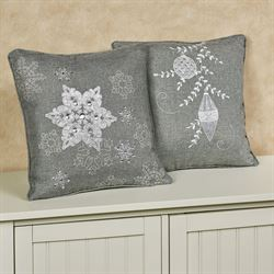 Ornamental Snowflake Decorative Pillows Multi Cool Set of Two