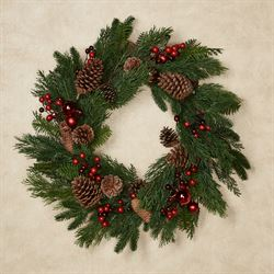 Pine and Berry Holiday Wreath Green