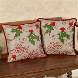 Christmas Holly Decorative Pillows Red Set of Two