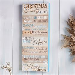 Christmas Family Rules Wall Plaque Sign Multi Warm