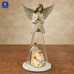 Angel with Holy Family Figurine Multi Warm