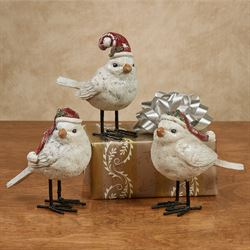 Christmas Bird Figurines Multi Warm Set of Three