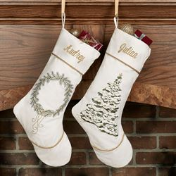 Golden Greenery Tree Stocking White
