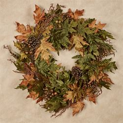 Autumn Berry Leaf Wreath Multi Warm